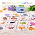 Baby Kognitiven Puzzle Karten Pädagogisches Spielzeug Passende Spiel Cartoon Fahrzeug Tier Obst Englisch Lernen flashCards für Kinder
