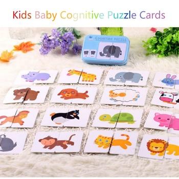 цена Baby Cognitive Puzzle Cards Educational Toys Matching Game Cartoon Vehicle Animal Fruit English Learning flashCards for Children онлайн в 2017 году