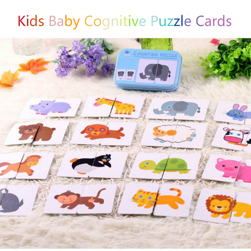 Kids Baby Cognitive Puzzle Cards Educational Toys Matching Game Cartoon Vehicle Animal Fruit English Learning Cards For Children