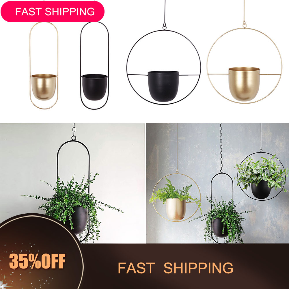 14.52US $ 34% OFF Iron Hanging Flower Pot Decorative Swinging Flower Basket Wall Hanging Flower Pot ...