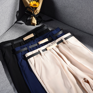 Image 5 - Pantalon crayon pour femmes, pantalon de bureau, taille haute, longueur cheville, bleu, Beige, noir, Harem, automne et printemps 2019