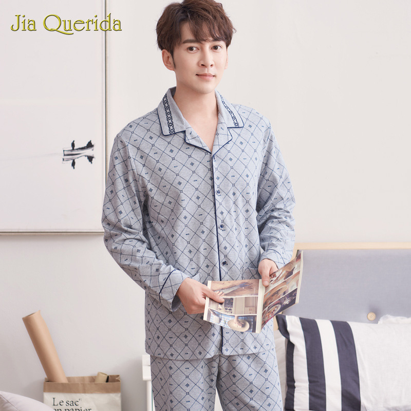 Autumn Pajamas Men's Cotton Cardigan Long Sleeve Pants Cotton Plus Size Plaid Printing Loose Clothing Set Winter Pajama For Men