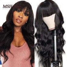 MSH Hair-pelucas de cabello humano ondulado para mujer, peluca de encaje de cuero cabelludo falso con flequillo, pelucas de parte media no Remy, cabello ondulado brasileño