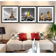 HD Prints Modern Minimalist 3 Panel Architecture Big Ben Liberty Goddess Decorative Painting Home Living Room Bedroom COLOMAC(China)