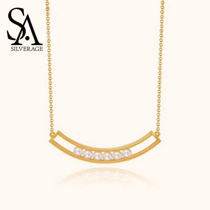 Купить sa silverage 2020 ожерелье для женщин простой серебряная цепочка