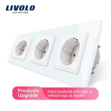 Livolo новое гнездо питания стандарта ЕС, розетка панель, тройная настенная розетка без вилки, закаленное стекло C7C3EU-11/2/3/5