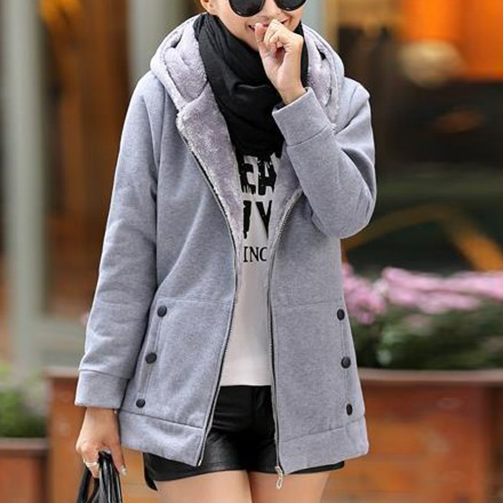 vertvie winter jacket women solid hooded thick fleece casual jacket female fashion slim plus size coats streetwear jackets Mujer