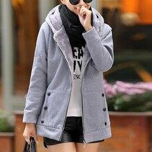 vertvie winter jacket women solid hooded thick fleece casual jacket