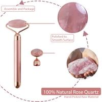 Electric Jade Roller For Face Eye Massage Rose Quartz Facial Rollers Vibrating Beauty Bar Skin Tightening Tool Waterproof 3