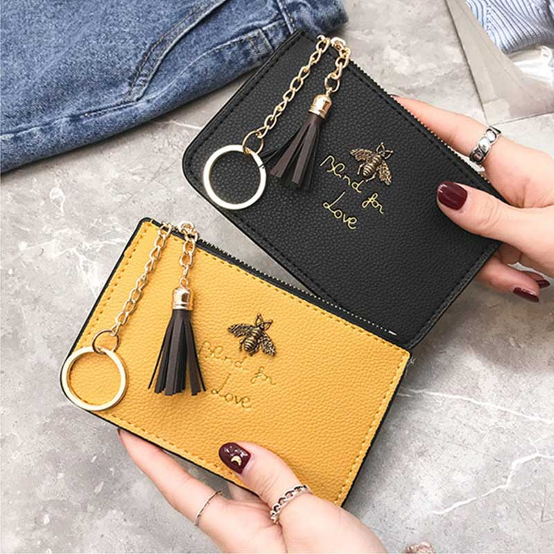 LISM 2019 New Ladies Lychee Coin Purse Mini Coin Bag Cute Small Wallet Ladies Short Coin Purse Bee Pattern Wallet