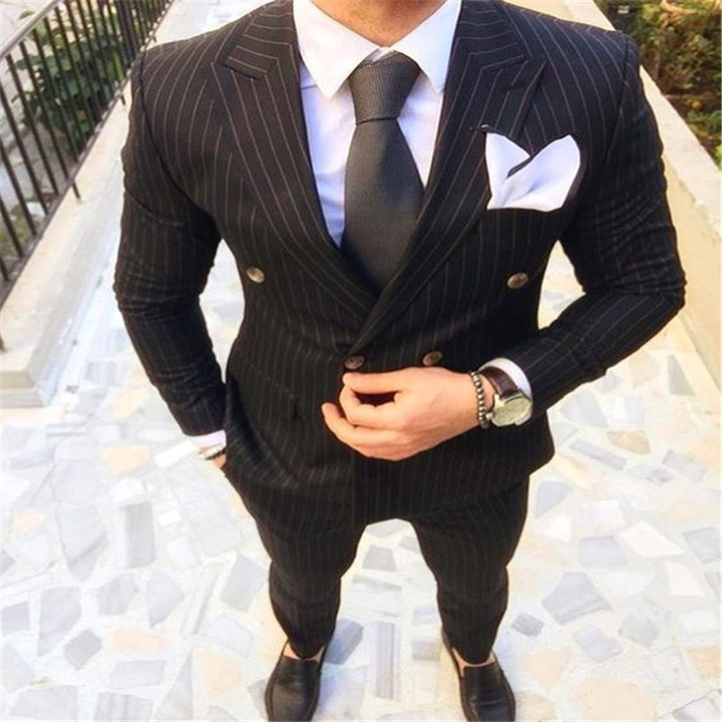 New Arrival Designs Black Stripes Men Suit Slim Fit Skinny 2 Piece Tuxedo Prom Suits Custom Groom Blazer Masculino Jacket+Pant