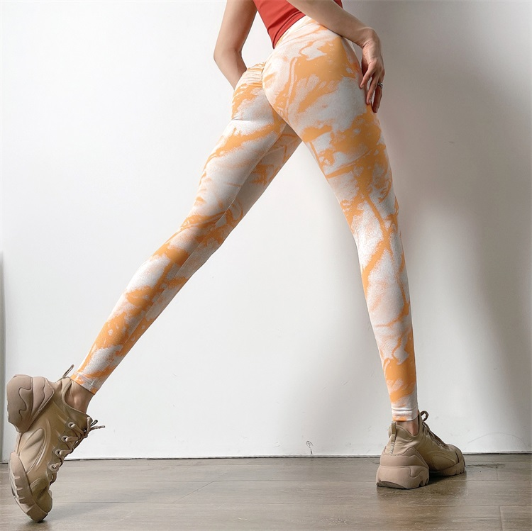 Hearuisavy novo tie-dye scrunch butt legging mulheres