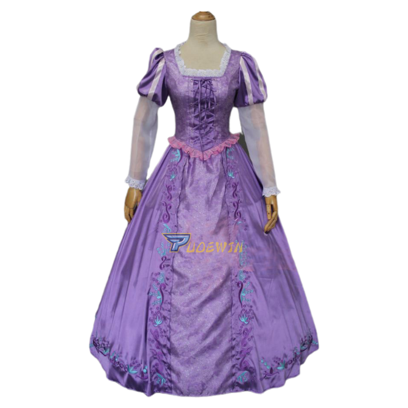 Adult Tangled Rapunzel Princess Cosplay Costume Purple Fairytale Dress Outfit