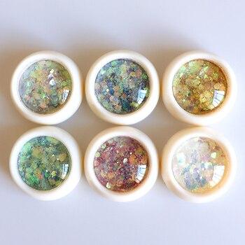 Mezcla de copos de brillantina en polvo 3D para uñas, adornos Nail Art para manicura, lentejuelas de colores brillantes, 1 caja