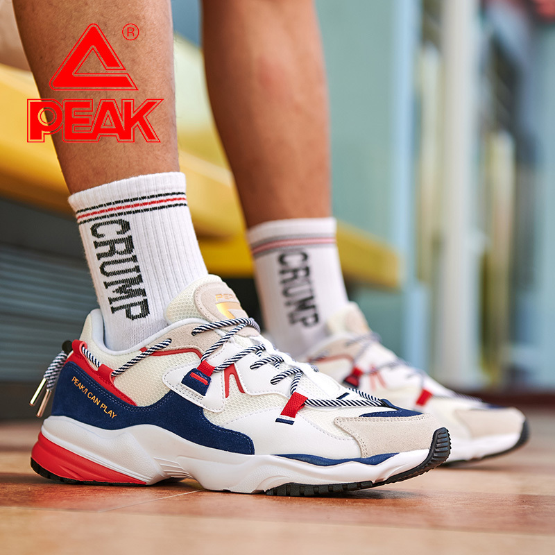 PEAK Men's Casual Shoes Retro Fashion Wild Casual Shoes Breathable Stretch Lace Father Shoes Outdoor Wearable Youth Sports Shoes
