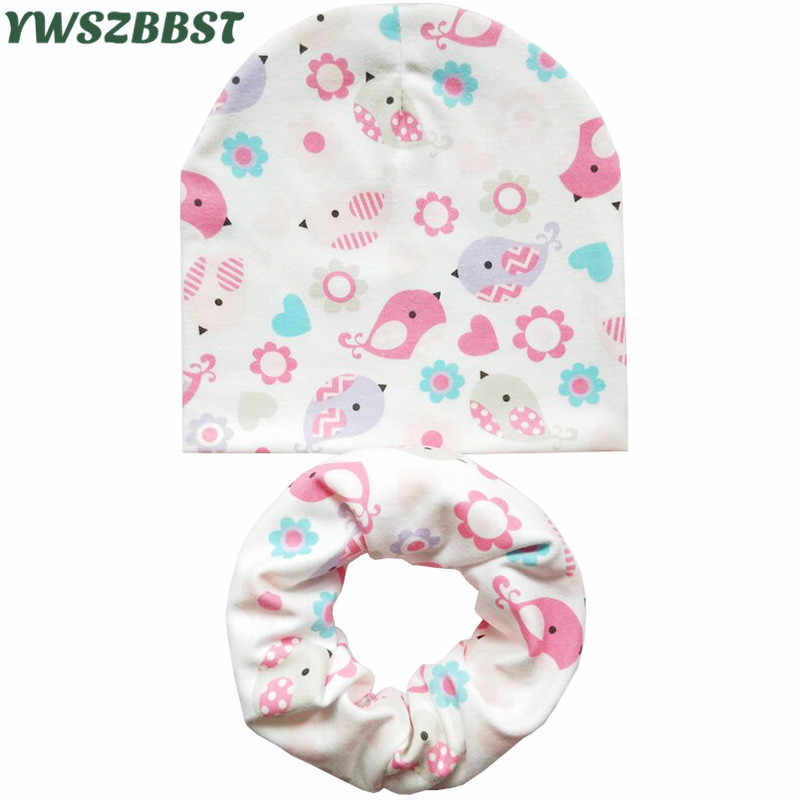 Baby Children Hat Scarf Set Animal Print Cotton Hats Girls Boys Kids Beanie Cap