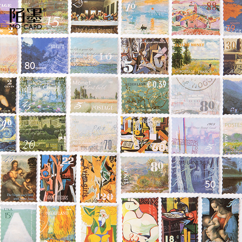 45 Pcs/Box Famous Oil Painting Style Stamp Sticker Paper Decorative Stickers