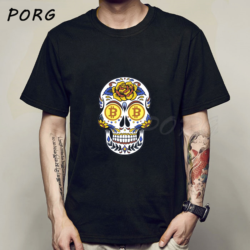 Bitcoin Crypto Currency Skull Aesthetic Summer Men's T-Shirts Punk Cool T-Shirt Hipster T Shirt Tumblr Ulzzang Unisex Tee Shirts 1