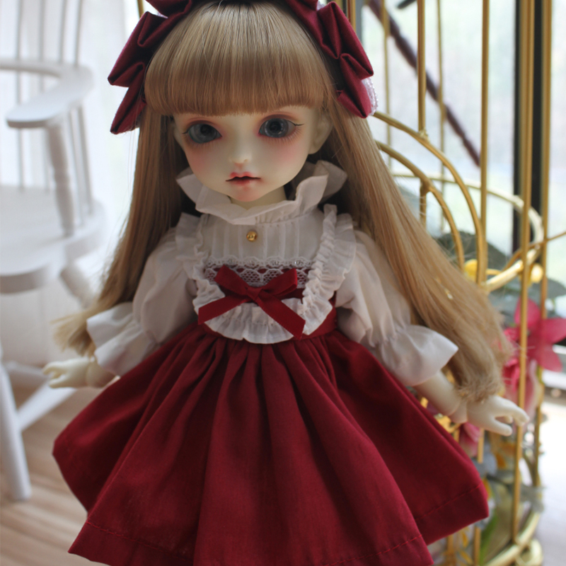 BJD Doll Simple Dress Doll Clothes Red Color Short Dress For Blyth 1/6 1/4 1/3 BJD Doll Accessories Dress+hair Decoration