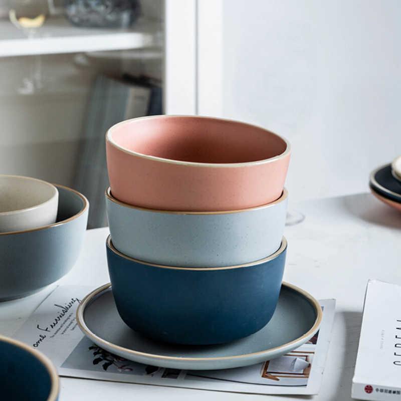 1pcs Kinglang Morandi creatieve huishoudelijke keramische kom plaat dineren kom dessert enkele soepkom rijstgerecht 4 kleuren