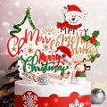 Рождественские топперы для торта, мультяшная елка, украшение для торта, снеговик, с Новым годом, топперы для кексов, декор для вечерние, дома,...