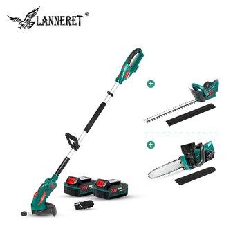 LANNERET 5 IN 1 çit düzeltici testere çim makası 20V teleskopik çubuk akülü zincirli testere bahçe makası bahçe araçları seti