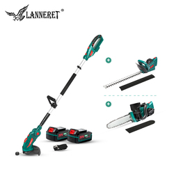 LANNERET 5 en 1 taille-haie tronçonneuse coupe gazon 20V avec poteau télescopique scie à chaîne sans fil tondeuse de jardin ensemble d'outils de jardin