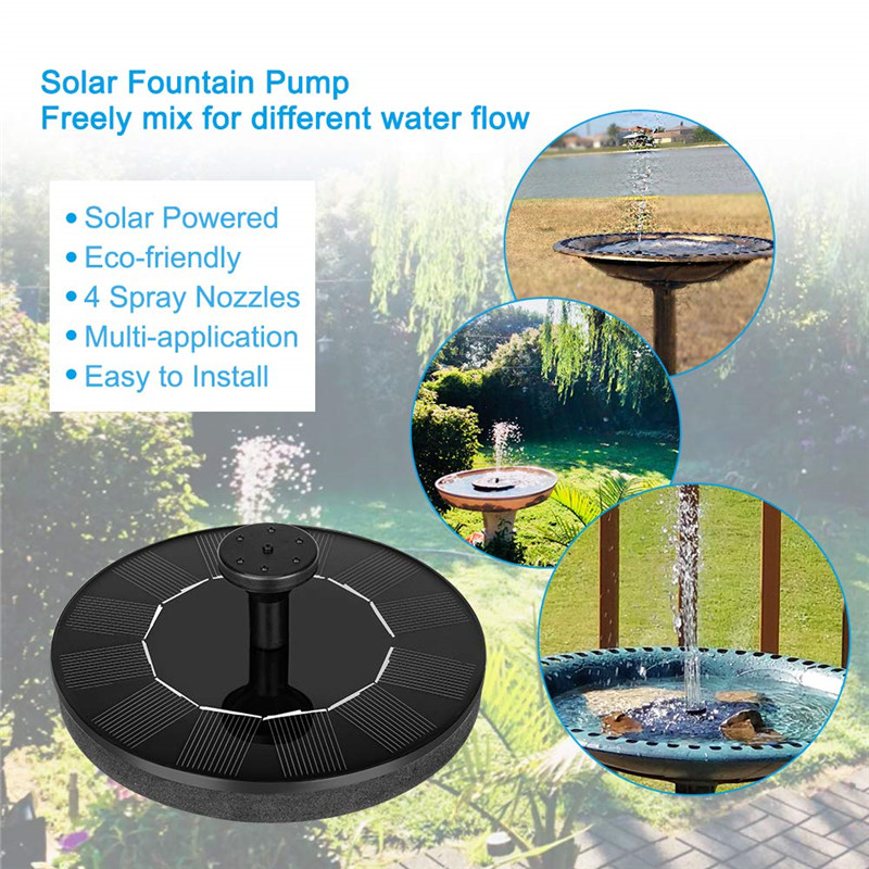 Solar Powered Water Fountain with 4 Spray Nozzles