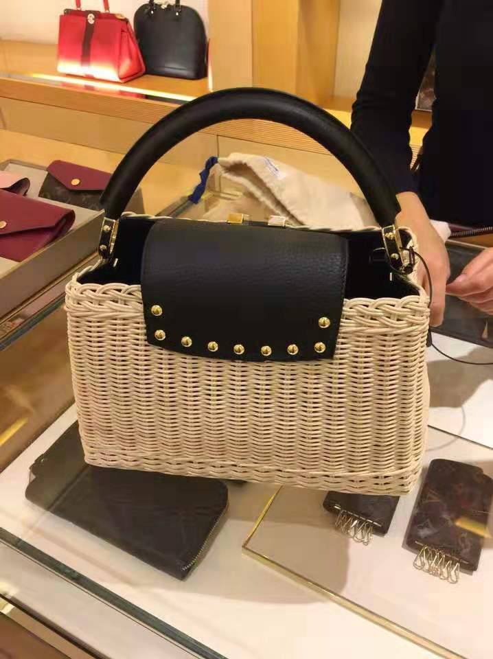 Luxury handbags women genuine leather bags designer rattan weave Cowhide handbag for women 2019 Original luxurious fashion brand in Top Handle Bags from Luggage Bags
