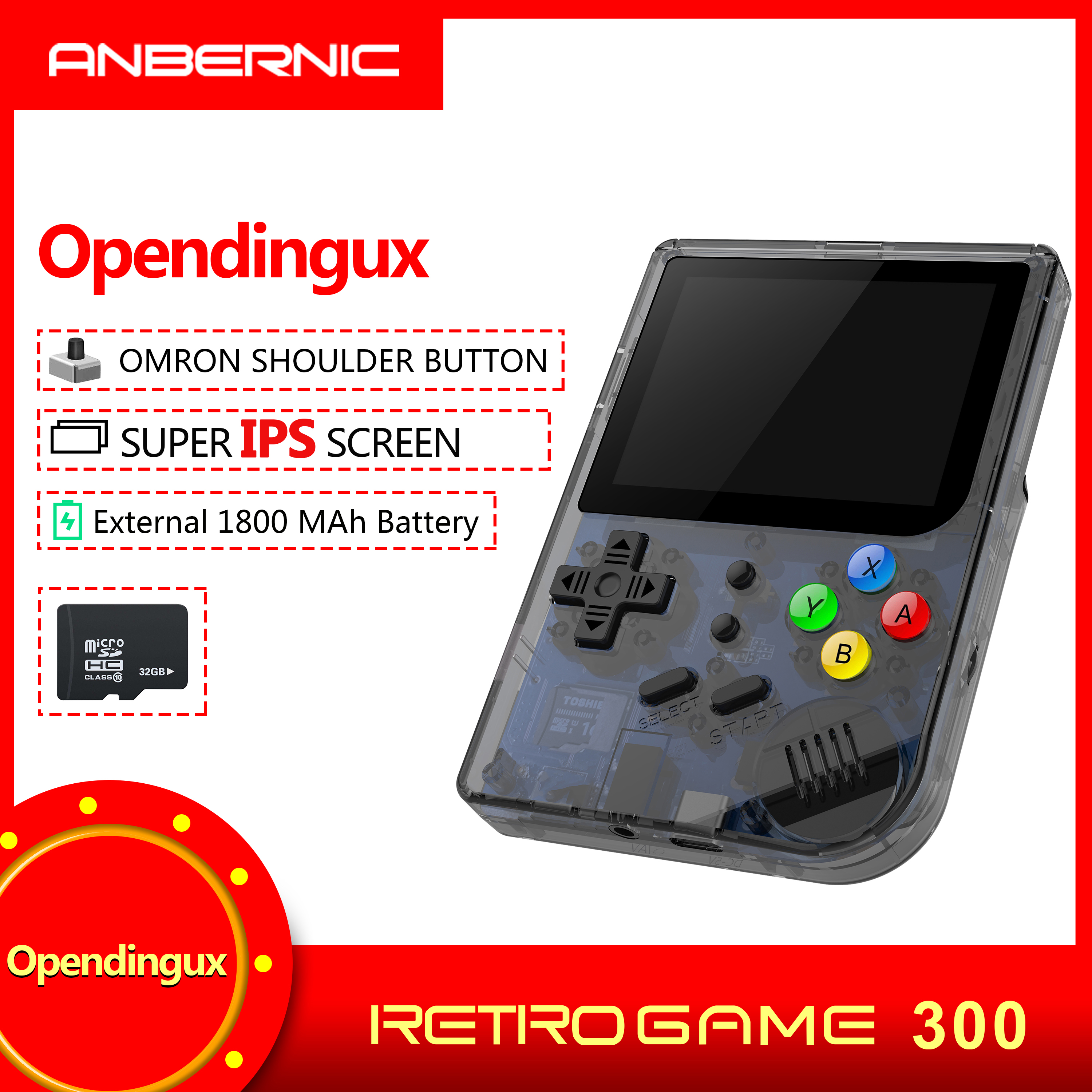 2019 rg300 INCH Video games Portable Retro FC console Game Handheld Games Console Player RG 300 16G 3000 GAMES Tony system