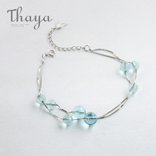 Thaya Mermaid foam design bracelet s925 sterling silver Double chain fishtail chain crystal bracelets for women elegant jewelry
