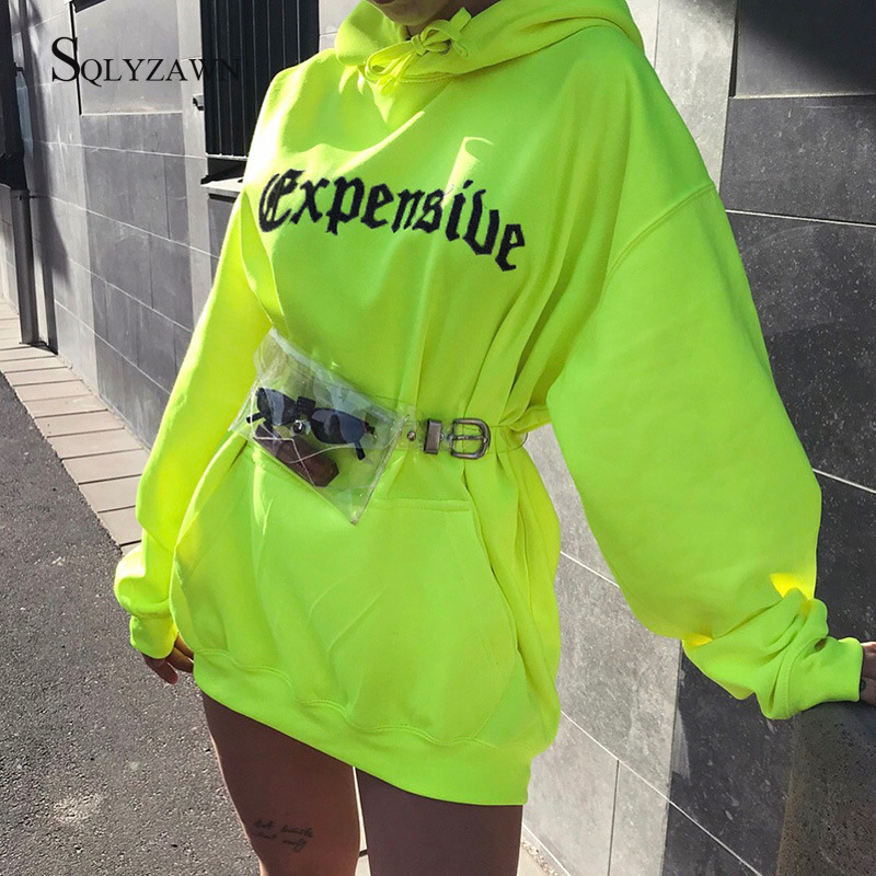 Harajuku Print Hooded Long Pullover Hoodies Women Neon Loose Streetwear Oversize Sweatshirt 2020 Fashion Knitted Hoodie Tops