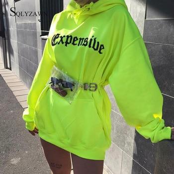 Harajuku Print Hooded Long Pullover Hoodies Women Neon Loose Streetwear Oversize Sweatshirt 2020 Fashion Knitted Hoodie Tops