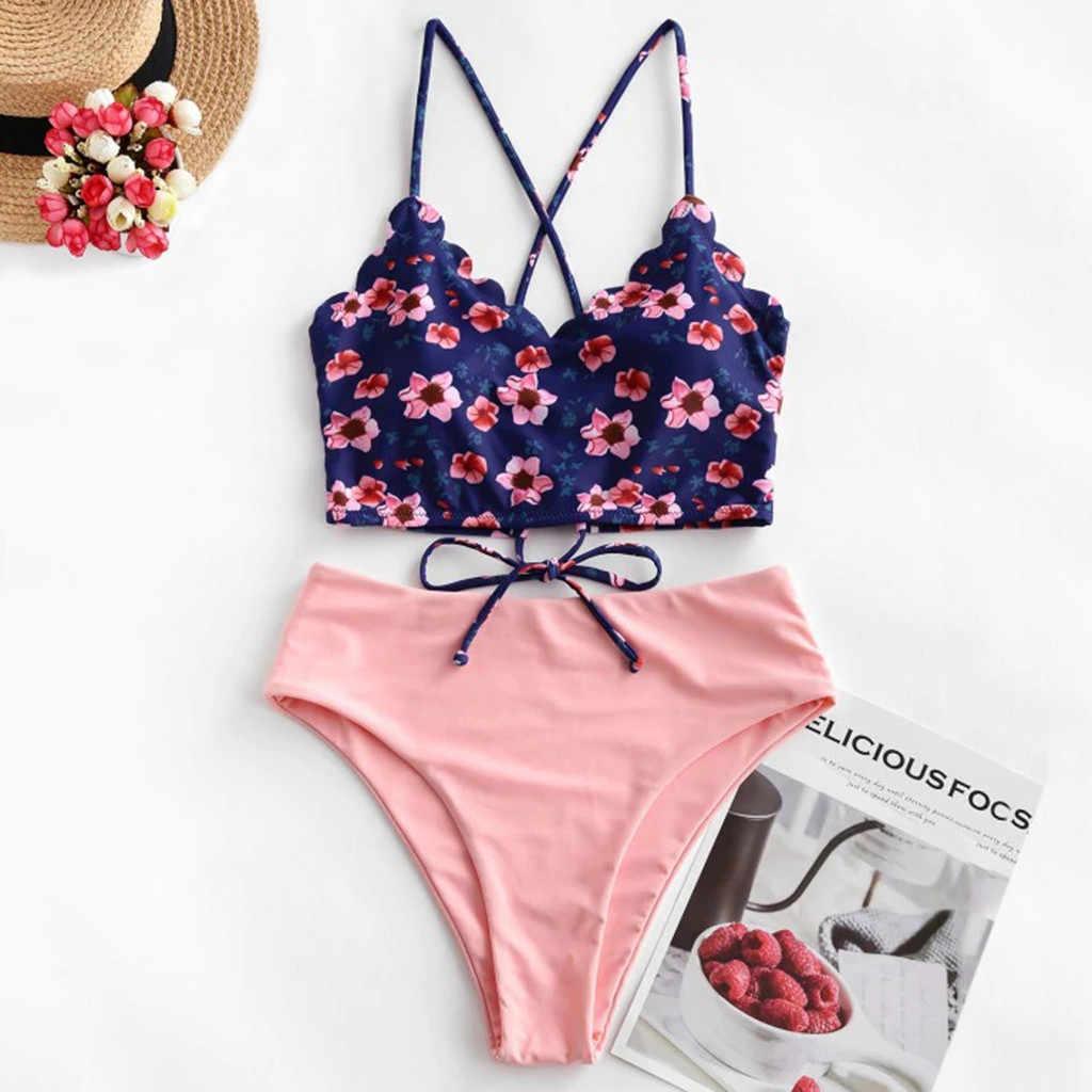 Bikini Seksi Baju Renang Wanita Push Up Wanita Floral Bergigi Tankini Baju Renang Swimsuit Beachwear Bikini 2020 Mujer