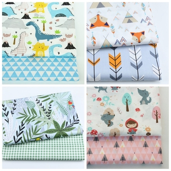 2PCS Dinosaur, Fox Cartoon Twill Printed 100% Cotton Fabric For Baby Sewing Quilting Fat Quarters Child DIY Patchwork Fabric