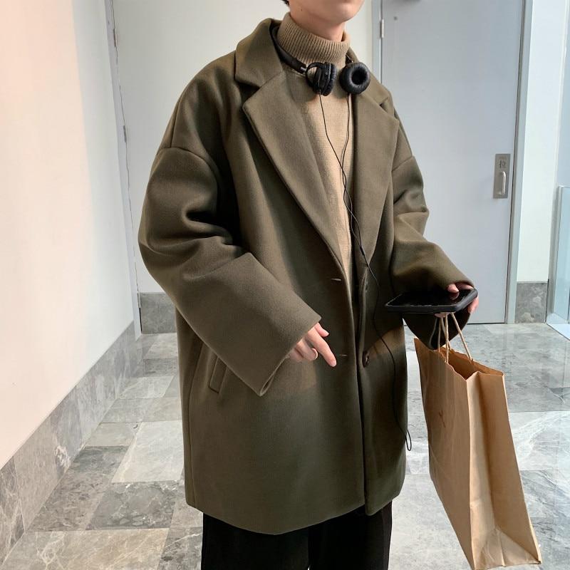 YASUGUOJI Fashion Loose Single Breasted Woollen Coat Men Thicken Korean Overcoat Men Winter Coat for Men Abrigo Hombre Invierno