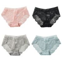 Women Invisible Seamless Underwear Mid Rise Sexy Hollow Out Floral Lace Panties Cotton Crotch Ultra Thin Lingerie Briefs