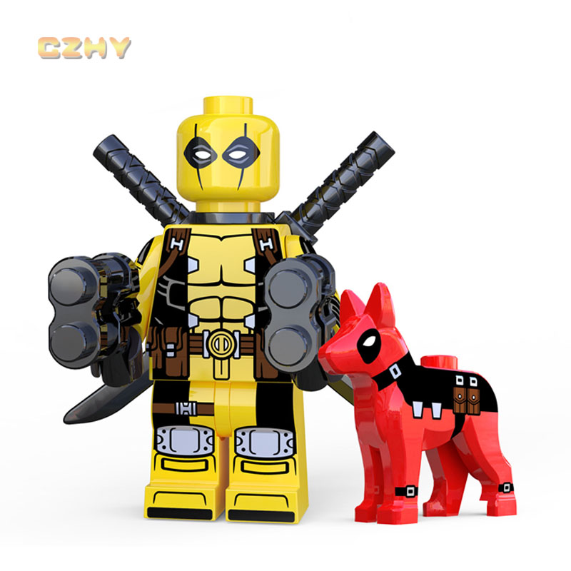 Yellow Deadpool with Dog LEGOEINGLYS MINIFIGURED DC comics Building Blocks Super Heroes Bricks Toys For Children Gifts XP221