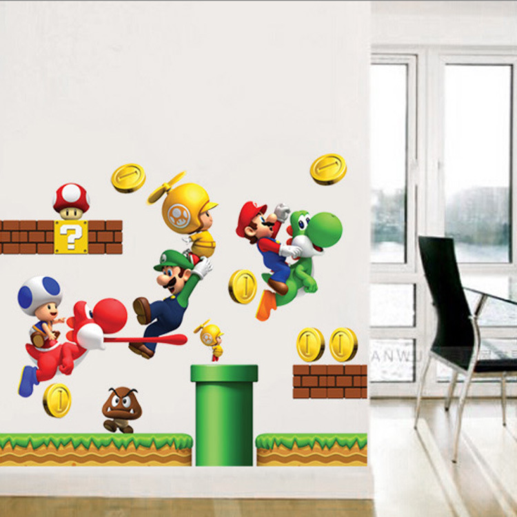 3D Cartoons Super Mario Bros Wall Stickers For Kids Rooms Boys Gifts Through Wall Decals Home Decor Mural Household Products