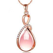 Корейский стиль, натуральный розовый кристалл, Росс, кварц, Женское Ожерелье, нежный цвет, модная ключица, Посеребренная, розовое золото, элементы, Penda