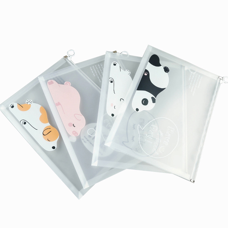 1pc Waterproof Multi-functional Transparent Document Cartoon A4 Document Bag Document Storage Box Office School Stationery