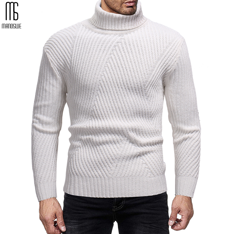 Manoswe Autumn Winter Sweaters & Jumper Pullover Men 2019 Turtleneck Solid Color Slim Casual Knit Shirt Men's Bottoming Shirt
