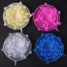 6 pics Plastic Wrap Silicone Stretch Lids Reusable Fresh Keeping Covers Fruits Vegetable Tools Kitchen Gagets pics