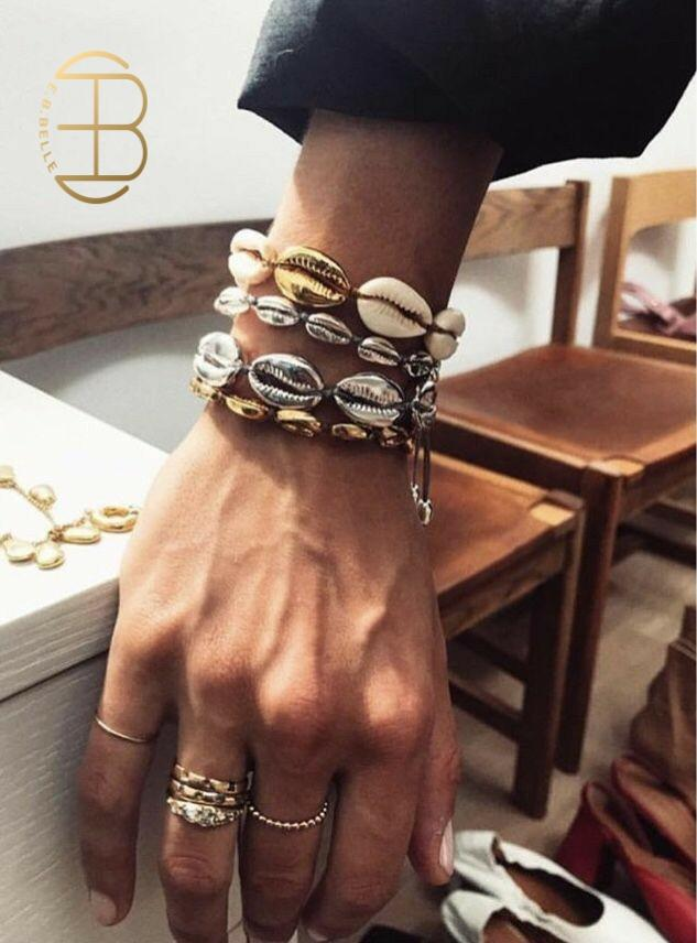 4 unids/set Boho cadena tejida de cuerda abulón colgante pulsera de moda Color oro plata Shell blanco Natural Shell pulseras para mujeres