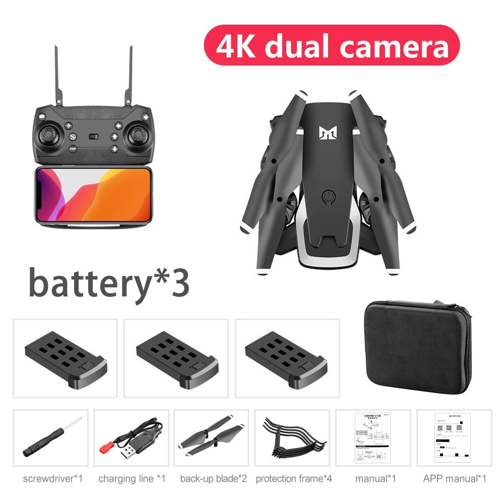 2020 New Flodable 20 Mins Long Range Drone 4K dual cameras 50x Zoom WIFI FPV Drone Flight Quadcopter KK6 Drone 4K Toys