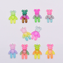 5pcs 46*28MM Glittering Sweet Gummy Bear Gradient Color Resin Cabochons Charms Pendant for Girls Kids Bracelet Jewelry Accessory