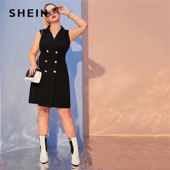SHEIN Plus Size Black Notch Collar Double Breasted Vest Blazer Dress Women Autumn Lapel Collar Sleeveless Elegant Plus Dresses