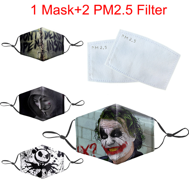 Reusable Protective PM2.5 Mask Face Unisex Dust Washable Joker Funny Print Mouth Muffle Masks Bacteria Proof Flu Mouth Mask