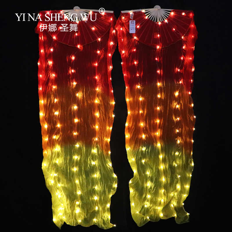 100% Silk LED Rainbow Dance Long Fans Belly Dance Performance Props Belly Dance Chinese Dance LED Fans 1pc/1pair With Batteries