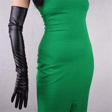 60cm Lange Lederen Handschoenen Extra Lange Over Elleboog PU Faux Lederen Emulatie Schapenvacht Black Touch Handschoenen Vrouwelijke WPU07 60
